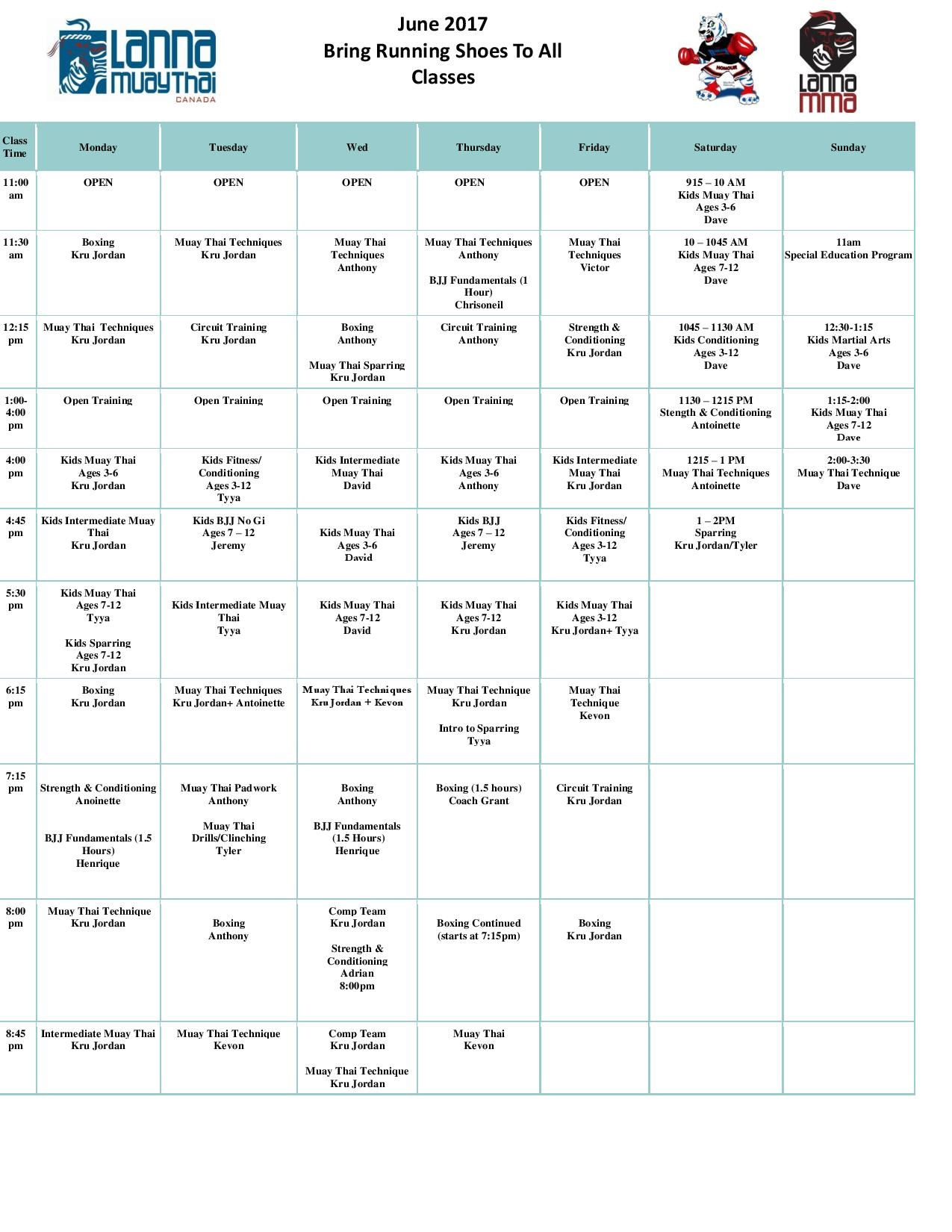 June Muay Thai Kickboxing, Boxing, BJJ, MMA, Kids Martial Arts, and Fitness Training Schedule