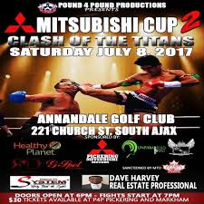 Poster for amateur muay thai even Mitsubishi Cup. The Poster features two muay thai fighters one is getting kicked in the head and the information for the events