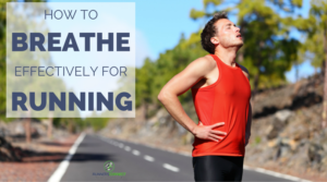 person trying to catch their breath and develop breathing pattern on their run. The person grabbing the side as if they have a cramp from improper breathing