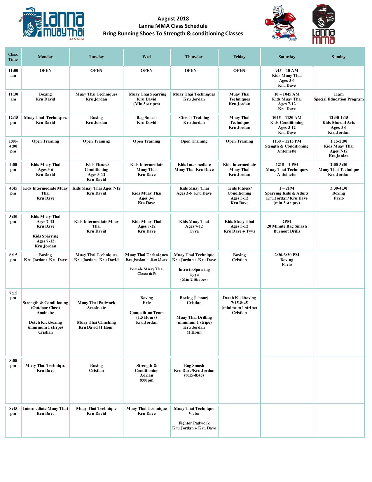 Daily class time table for boxing, muay thai, kickboxing, and kids martial arts classes for Lanna MMA located at 3625 Weston Rd