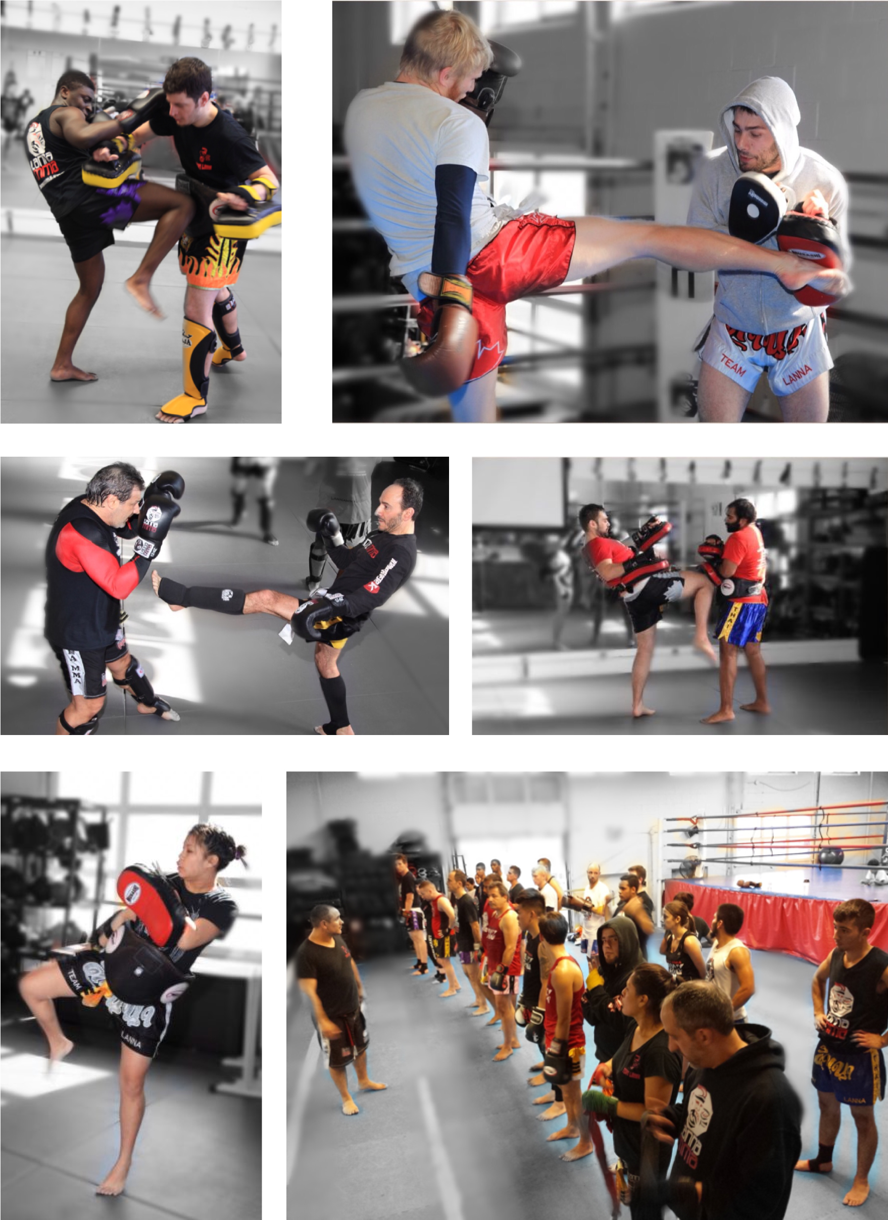 variety of images from muay thai kickboxing classes at Lanna MMA located in North York and Vaughan