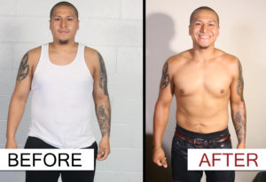 amazing weight loss progress by one of the boxing students at Lanna MMA. This before and after picture shows a drastic change in shape of this student