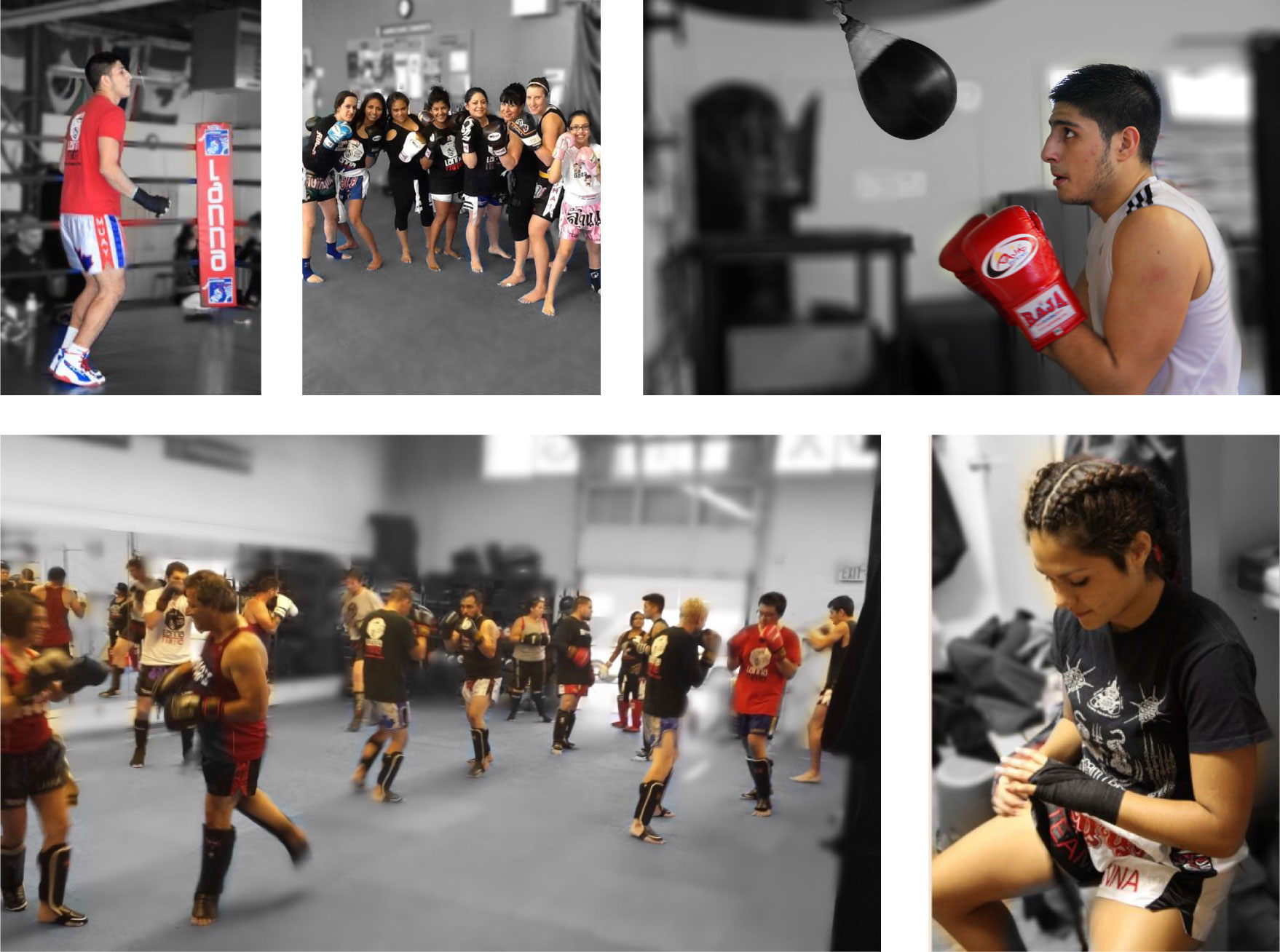 Series of different photos in a collage of students in boxing classes at Lanna MMA. Students are doing a variety of activities from wrapping their hands to hitting a bag and hitting pads
