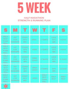 5 week running plan with a schedule of what to do each day in order to accomplish running goals