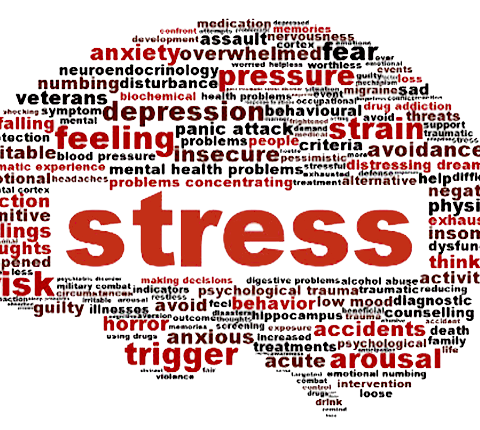 Stress word bubble with stress in the middle and different words relating to stress like pressure, strain, feeling, etc.