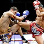 2 Muay Thai male fighters fighting in a boxing ring with boxing gloves and traditional Muay Thai Shorts on. One fighter is kicking the other while the other is blocking